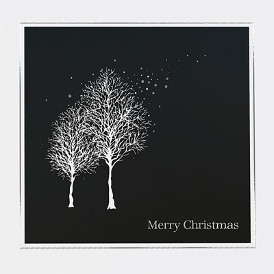 trees at night christmas card