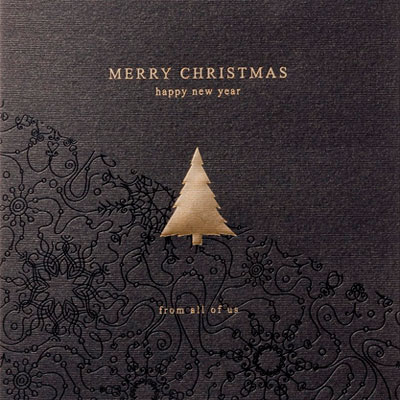 black and gold personalised christmas card