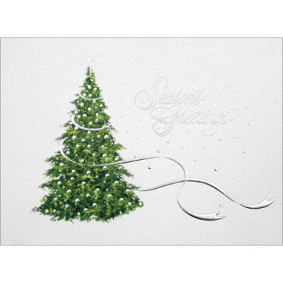 ribboned tree christmas card