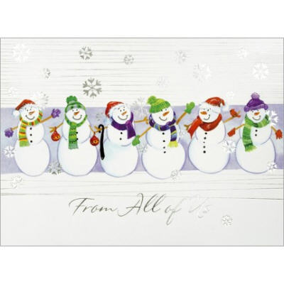 six happy snowmen christmas card