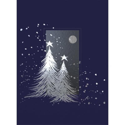 two silver trees christmas card