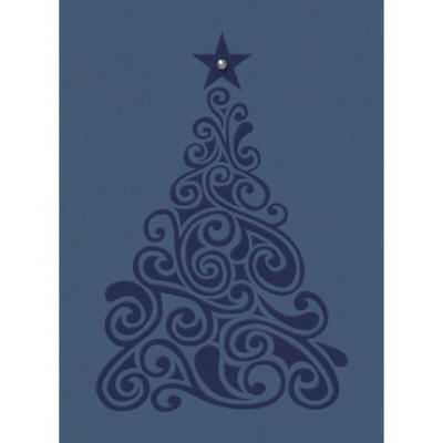 tree blue christmas card